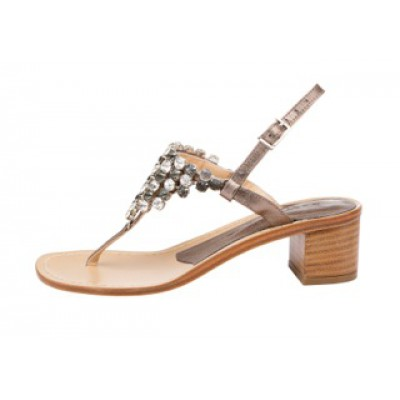 Vincenzo Ferrara - Thong  Sandal On A Medium Heel With Diamante Detail