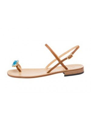 Vincenzo Ferrara - Tan Leather Flat Sandal With Light Blue Crystal Detail