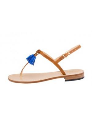 Vincenzo Ferrara - Tan Leather Flat Sandal With Blue Tassle