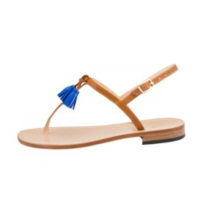 Vincenzo Ferrara - Tan Leather Flat Sandal With Blue Tassle