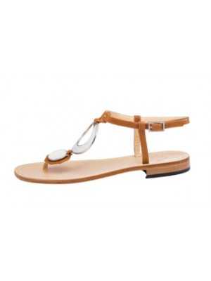 Vincenzo Ferrara - Tan Leather Flat Sandal With Circle Detail In Cream