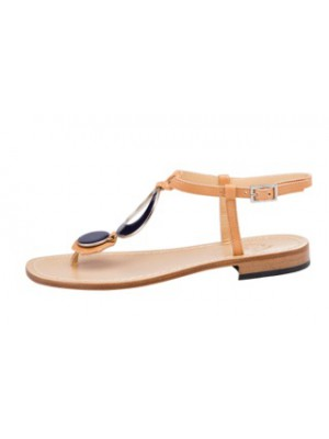 Vincenzo Ferrara - Tan Leather Sandal With Circle Detail In Navy