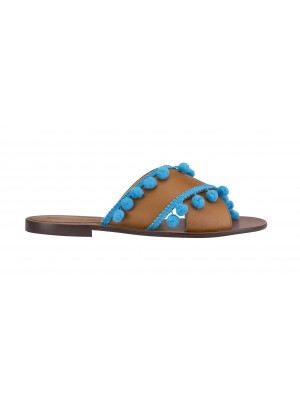 Vincenzo Ferrara - Tan Leather Slide With Blue Tassel Detail