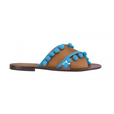 Vincenzo Ferrara - Tan Leather Slide With Blue Tassel Detail