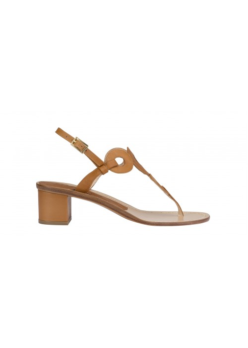 VIncenzo Ferrara - Tan Leather Thong Sandal On A Medium Heel With Circle Detail