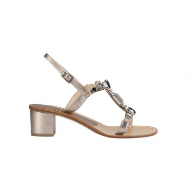 Vincenzo Ferrara - Silver Leather Sandal On A Medium Heel With Rhinestone Detail