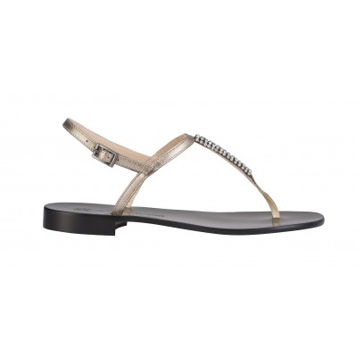 Vincenzo Ferrara - Silver Leather Flat Sandal With Crystal Detail