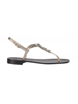 Vincenzo Ferrara - Silver Leather Flat Thong Sandal With Rhinestone Detail
