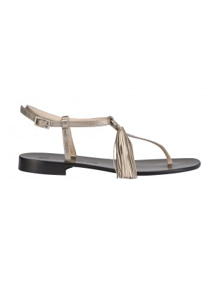Vincenzo Ferrara - Silver Leather Thong Flat Sandal With Tassel Detail