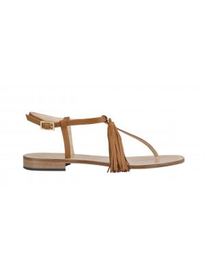 Vincenzo Ferrara - Tan Leather Thong Flat Sandal With Tassel Detail