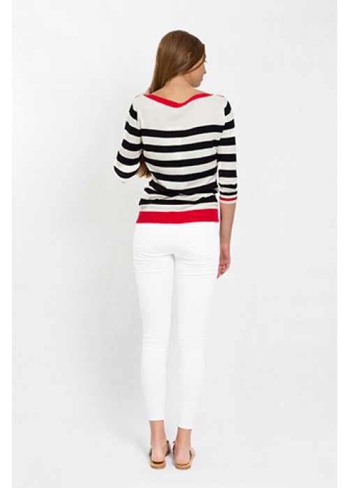 Malvin - 3/4 sleeve pullover with pocket and stripe detail