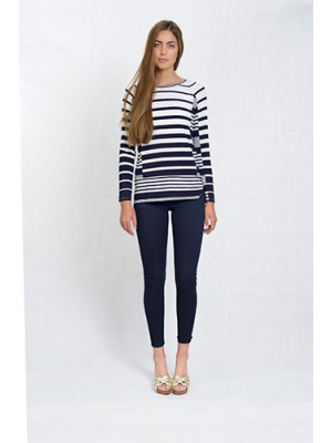 Malvin - Long sleeve, round neck viscose stripe print top