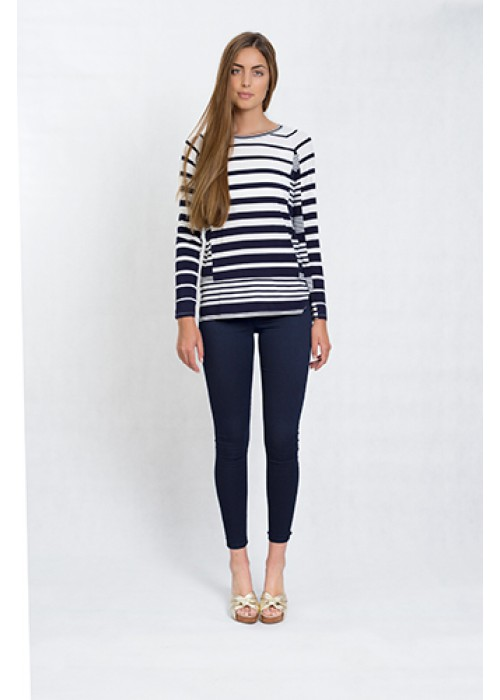 Malvin - Long sleeve, round neck viscose stripe print top