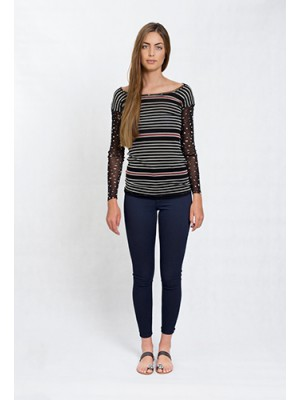Fuzzi - Longsleeve mesh top with circle and stripe print