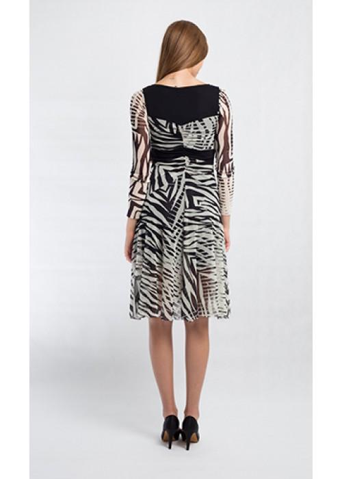 Fuzzi - Longsleeve mesh knee length dress with zebra print
