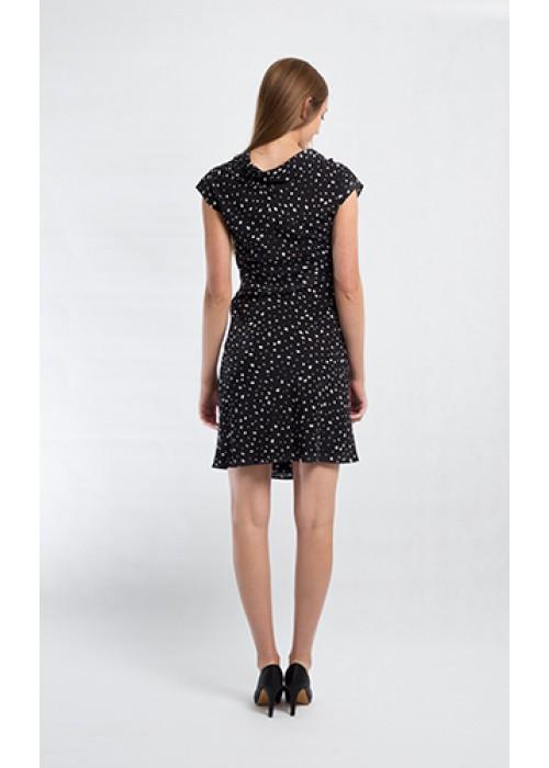 Fuzzi - Short sleeve  polka dot silk dress with cowls neck detail