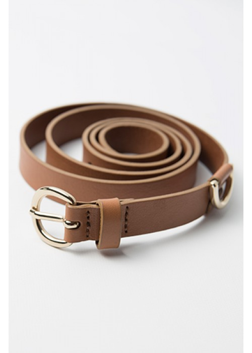 Penny Black - Thin leather belt with gold loop and buckle detail