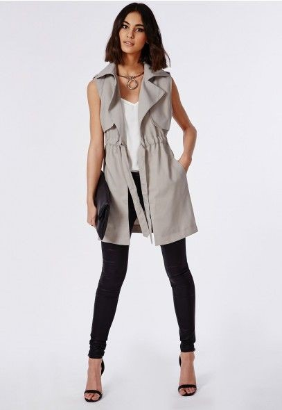 ightweight Sleeveless Trench Coat Grey - Coats & Jackets - Missguided: