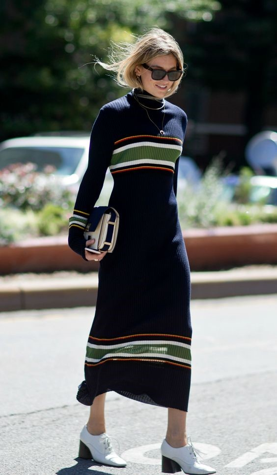 ll the New York Fashion Week Street Style You Have to See - Midi length striped sweater dress | StyleCaster: